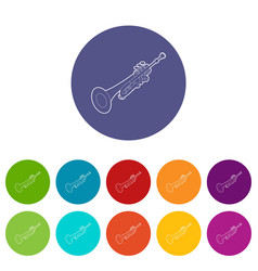 trumpet icons set color vector image