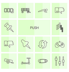 14 push icons vector image
