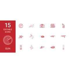 15 gun icons vector