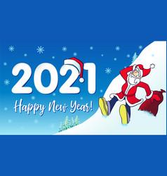 2021 santa hipster happy new year card vector image