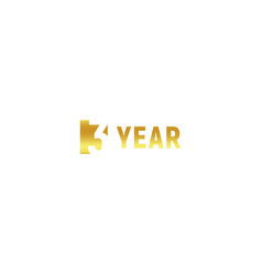 3 year happy birthday gold logo on white vector image