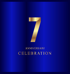 7 year anniversary celebration gold blue template vector