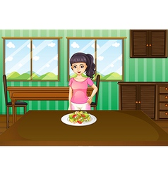A woman standing in front of a table with food vector image