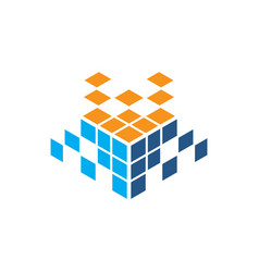 Abstract cube rubik technology logo vector