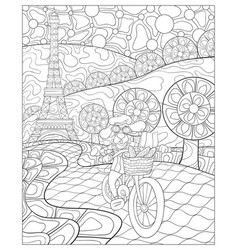 adult coloring bookpage a cute dog ride a bike vector image