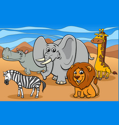 african animals cartoon characters group vector image