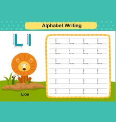 Alphabet letter l-lion exercise with cartoon vector