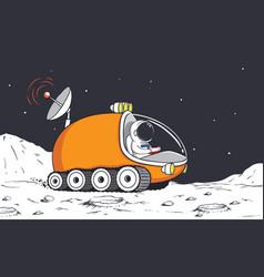 Astronaut in lunar rover vector