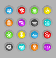 Auto tuning colored plastic round buttons icon set vector