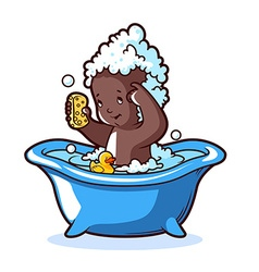 Baby bathing in blue bath with foam and rubber vector