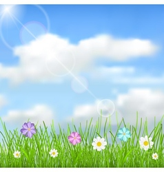 Background with sky clouds grass and flowers vector image vector image