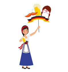 bavarian woman with beer and flag mustache symbol vector image