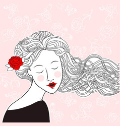 beautiful girl with rose in hair and roses on vector image