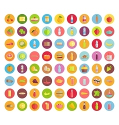 Big collection food icons in flat design vector