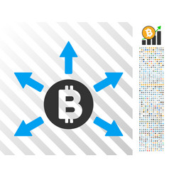 Bitcoin emission flat icon with bonus vector