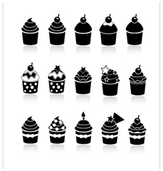 Black and white cupcakes icons vector