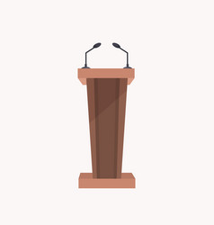 brown wooden stand presentation conference tribune vector image