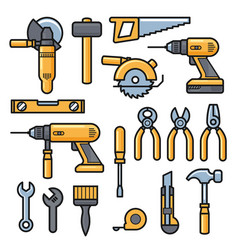 building and repair tools icons construction vector image