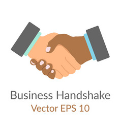 business handshake handdrawn simple flat icon vector image