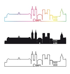caen skyline linear style with rainbow vector image