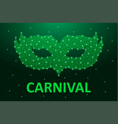 carnaval mask low poly in green color brazil vector image
