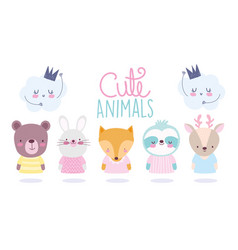 cartoon cute animals characters bear rabbit fox vector image