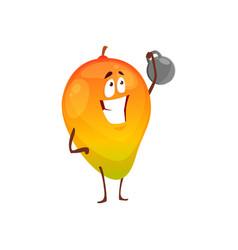 Cartoon exotic mango fruit sportsman icon vector