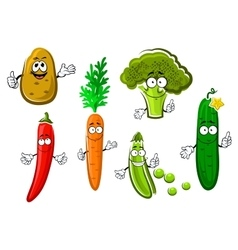 Cartoon fresh organic vegetable characters vector image