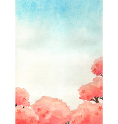 Cherry blossom tree with blue sky background water vector