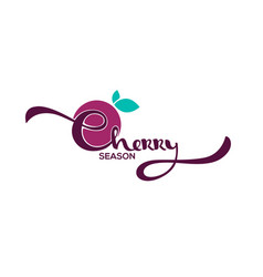 Cherry lettering bright sticker emblem and logo vector