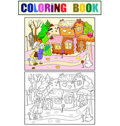 Childlike color story scene with pair of vector