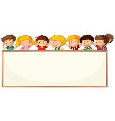 Children on blank frame template vector