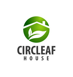 circle leaf house logo concept design symbol vector image