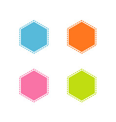 collection of colorful stitched hexagon shape vector image