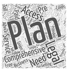 Comprehensive access plan word cloud concept vector