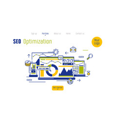 Concept of landing page for seo optimized website vector