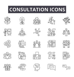 consultation line icons for web and mobile design vector image