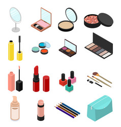 cosmetic products set isometric view vector image