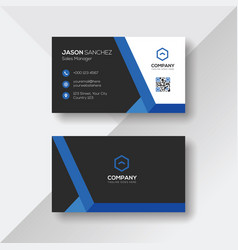 Creative business card with blue details vector