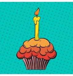 Cupcake pop art vector image