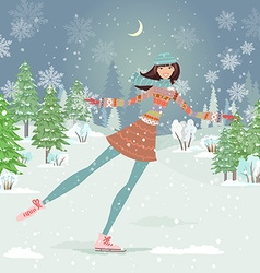 Cute girl skating in winter forest vector image