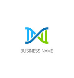 dna structure line logo vector image
