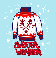 doodle style christmas sweater with reindeer vector image