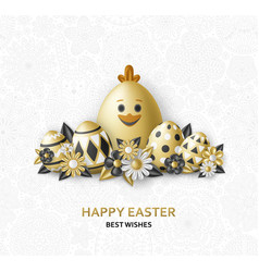 easter cute eggs set with white bunny and chicken vector image
