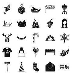 family reunion icons set simple style vector image
