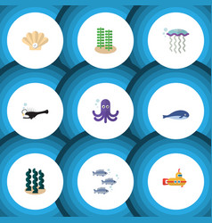 Flat icon sea set of periscope alga tentacle and vector