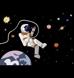 flat style astronaut in open space in the solar vector image