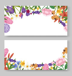 floral banners set with garden and field flowers vector image
