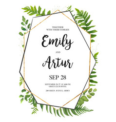 Floral card design with green fern leaves herbs vector