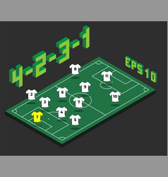 football 4-2-3-1 formation with isometric field vector image
